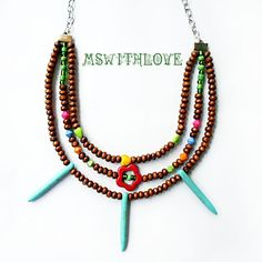 Ethnic wooden necklace turquoise boho necklace multi by MSwithlove