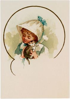 Girl with Kitten Image - The Graphics Fairy