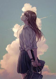 Twitter Anime School Girl, Cool Anime Girl, Beautiful Anime Girl, Kawaii Anime Girl, Anime Art Girl, Manga Girl, Anime Girls, Anime Scenery Wallpaper, Anime Artwork