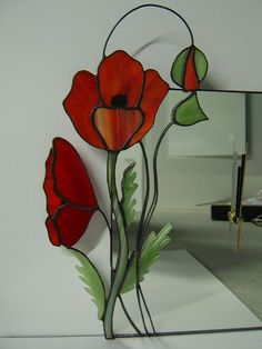 Poppy Tiffany Style Stained Glass Clock - Mirror
