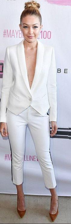 Gigi Hadid: Jacket and pants – SMythe  Shoes – Gianvito Rossi
