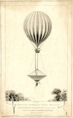 'The Royal Vauxhall Nassau Balloonwith Mr. Cocking's parachute attached, as they ascend from the Royal Gardens, Vauxhall, Monday July 24th 1837.'Print made by E W Cocks.(via British Museum)