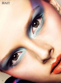 Amazing hazel eyes made up in light blue and purple on Canadian model Addison Gill for Flare Canada, March 2010.