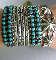 Two RARE Ingot Museum Quality Zuni Double Row Snake Eye Turquoise Bracelets | eBay