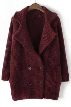 Notched Collar Double-breasted Cardigan - OASAP.com