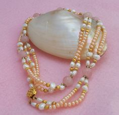 Freshwater Pearls and Rose Quartz Double Strand by evecollection, $39.00