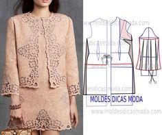 Para fazer este belo casaco chanel no blogue existem bases de casaco largas, semi-largas e justas em diversos tamanhos. Depois de imprimir o molde base faç