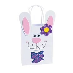 """Bunny Gift Bag Craft Kit - OrientalTrading.com - Includes self-adhesive foam pieces and self-adhesive wiggle eyes for easy construction. All craft kit pieces are pre-packaged for individual use. Kits include instructions and extra pieces. 4 1/2"""" x 2 1/2"""" x 5 1/2"""" $8.25 per dozen"""