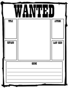 Reading Wanted Poster. Cute To Use With Chocolate Fever For The Character  Of Henry.  Printable Wanted Poster Template
