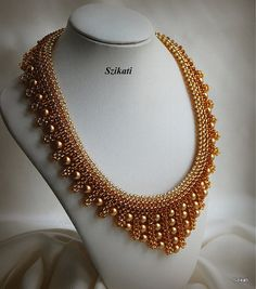 Beaded gold, honey & brown seed bead necklace with pearl, OOAK, Right Angle Weave