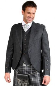 This is a Luxury Crail Tweed Kilt Jacket front. Not as formal as the Prince but I personally feel it is a much nicer look, especially when the guy wearing it isn't Scottish so may not understand the full tradition. Tweed Jacket, Suit Jacket, Vest, Kilt Jackets, Kilt Belt, Semi Dresses, Wing Collar, Tweed Fabric, At Least