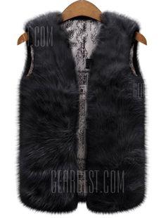 Fashionable VNeck Pure Color Faux Fur Waistcoat For Women- http://www.siboom.es/yoursclothing-plus-size-womens-eyelash-sequin-shrug_ofertas.html |