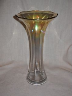 Circa 1920's Imperial Smooth Panels Swung Vase in Carnival Marigold to Clear Iron Cross Backstamp