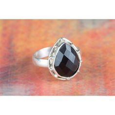 Amazing Faceted Black Onyx Gemstone Sterling Silver Ring via Polyvore featuring jewelry, rings, sterling silver jewellery, black onyx jewelry, sterling silver black onyx ring, sterling silver rings and black onyx rings