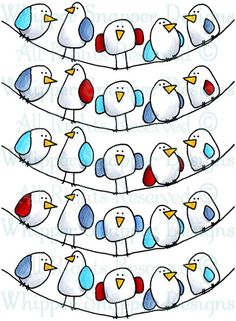 The Flock - Birds - Animals - Rubber Stamps - Shop Doodle Drawings, Easy Drawings, Doodle Art, Vogel Clipart, Bird Doodle, Sharpie Art, Sharpies, Animal Doodles, Mail Art