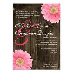 Rustic Barn Wood Pink Daisy Wedding Invitations