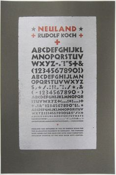 "Each point size of Neuland by Rudolf Koch was hand cut and letters vary from size to size. Some of the more distinctive variations of letters went into P22s version of Neuland as ""P22 Nueland"" this specimen shows several sizes of the original metal fonts."