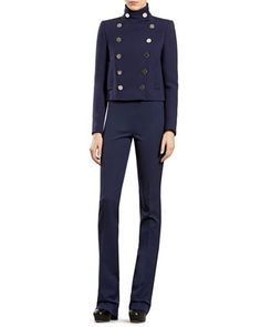 Wool Double-Breasted Jacket, Cashmere Ribbed Cashmere Turtleneck Sweater & Silk-Wool Flare Pants by Gucci at Bergdorf Goodman.