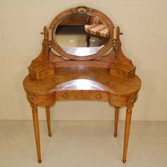 Beautiful French 1920`s kidney style dressing table with brass ormolu sconce lights, £1100  www.swansofoakham.co.uk