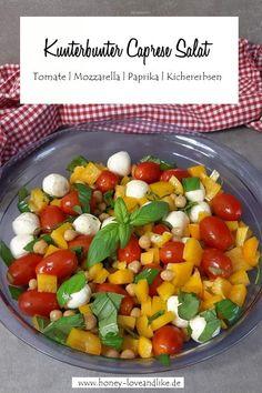 Caprese Salat mal anders! Mit Kichererbsen und Paprika Mozzarella Salat, Caprese Salat, Fruit Salad, Cobb Salad, Low Carb Recipes, Salads, Good Food, Cooking, Dinner