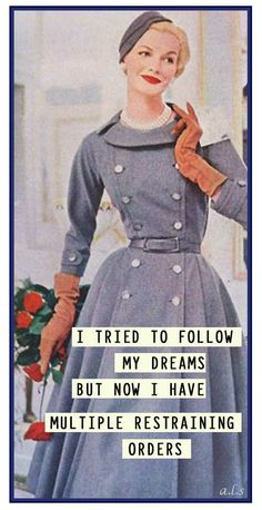 I tried to follow my dreams.. But now I have multiple restraining orders - vintage retro funny quote