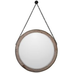 Colte Rustic Lodge Bronze Chain Hanging Round Fir Wall Mirror | Kathy Kuo Home