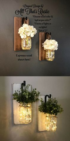 Rustic hanging mason jar sconces. Beautiful home decor set. #commissionlink #rustic #homedecor #masonjar #lantern #sconces #lighted #famrhouse