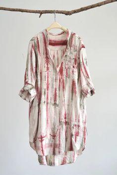 Woman cotton linen handdye print long shirt by QuadHappiness