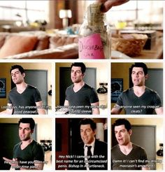 schmidt. new girl. (my favourite part I can't find my driving moccasins anywhere!)