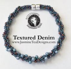 Textured Denim Beaded Kumihimo Necklace by JasmineTeaDesigns