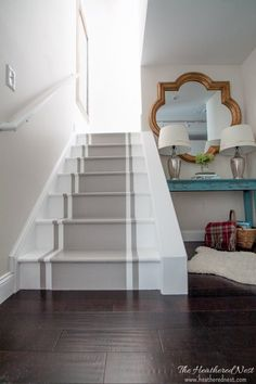 INCREDIBLE stair makeover with PAINT! SO much cheaper than stain or new stairs! If you can hold a paintbrush, you can easily learn how to paint stairs! Painted Staircases, Painted Stairs, Wooden Stairs, Stair Renovation, Open Staircase, Staircase Ideas, Interior Staircase, Stair Makeover, Staircase Remodel