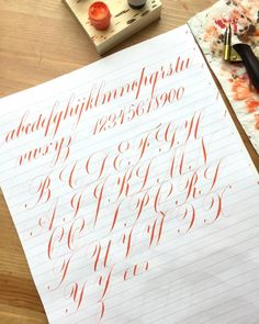 "246 Likes, 9 Comments - Steph Crisostomo (@stfnie.ink) on Instagram: ""Warming up. . Nib: Hunt 101 Ink: Vermillion Sumi Paper: Rhodia . . . . . . #calligraphy #engrossers…"""