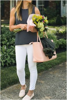 Stripe Tee and White Jeans  * Black and White Stripes * Flower Bouquet * Blush Espadrilles * Summer Outfit Ideas * Dagne Dover Legend Tote * Lou What Wear *