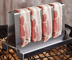 Turn your next barbecue into a full on bacon grilling factory with help from this specialized BBQ rack. The bacon grilling rack's angular design shortens. Bacon On The Grill, Cooking On The Grill, Grill Rack, Bbq Grill, Camping Grill, Camping Cooking, Cooking Bacon, Cooking Time, Cooking Classes