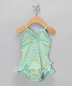 Take a look at this Aqua Geo Blossom Skirted One-Piece - Infant by i play on #zulily today!