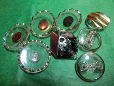 """(8)  7/8""""-1&1/16""""  DECORATIVE CLEAR GLASS SHANK BUTTONS - VINTAGE Lot#N342"""