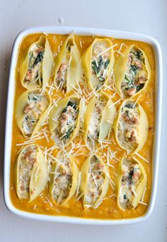 BUTTERNUT SQUASH & SAUSAGE STUFFED SHELLS from Rachel Schultz - did this with pumpkin and regular pasta instead of  squash and shells - needs a little crushed red pepper for kick