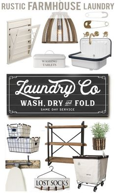 "Laundry Co Planked Wood Sign 10"" x 24"" ready-to-hang by Lettered & Lined, Fixer Upper Inspired Farmhouse Rustic Laundry Room"