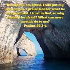 Psalms But when I am afraid, I will put my trust in you. I praise God for what he has promised. I trust in God, so why should I be afraid? What can mere mortals do to me? Niv Bible, Mere Mortals, New Living Translation, Praise God, Trust Me, Psalms, Canning, Water, Outdoor