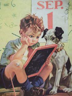 vintage dog pictures | Little School Boy Doing Math with Dog - Vintage Hintermeister Print ...
