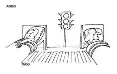 Caricatura de ANDO, publicata in almanahul PERPETUUM COMIC '97 editat de URZICA, revista de satira si umor din Romania