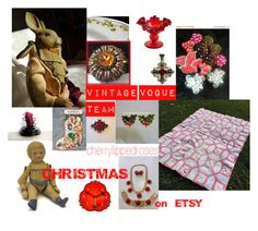"""Vintage Vogue Team Christmas on ETSY"" by cherrylippedroses ❤ liked on Polyvore featuring Avon, Fenton and vintage"