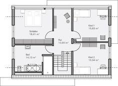 Moderne Häuser | Haus Hamburg, Grundriss Obergeschoss | Grundriss ...
