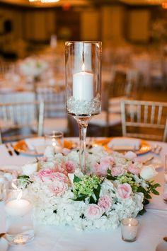 Pillar Candle and Blush Floral Wedding Reception Centerpieces