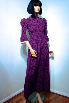 RARE 1960s LAURA ASHLEY deep purple cotton maxi dress // Empire line fit // smocked midriff // crochet cotton lace trim // rare early label