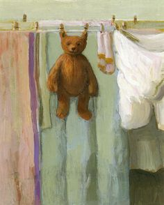bear  with clothes line outside.
