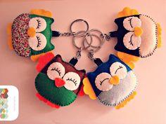 Porte-clés Hibou en feutrine animaux de couleurs : Porte clés par hamoraima
