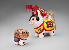 japanese paper mache Inu Hariko folk toys
