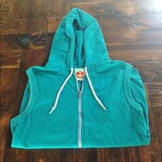 Emerald green teal vest hoodie American apparel This vest comes with a hood and unique graphic of a vintage straight edge razor in the back Jackets & Coats