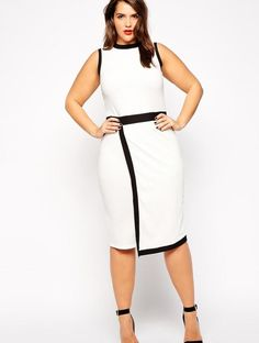 Fashion design plus size casual dress curve party dress women with black and white contrast color White Work Dresses, Casual Work Dresses, Trendy Dresses, Dresses 2016, White Dress, Ladies Dresses, Midi Dresses, Dresses Uk, Club Dresses